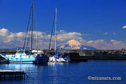 保田漁港 富士山