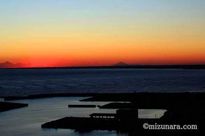 夕焼け 富士山 飯岡漁港
