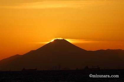 ダイヤモンド富士 検見川の浜 富士山